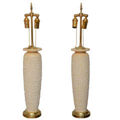 Pair of Tall Textured Ceramic Table Lamps with Brass Accents