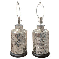 Pair of Cannister Mercury Glass Lamps