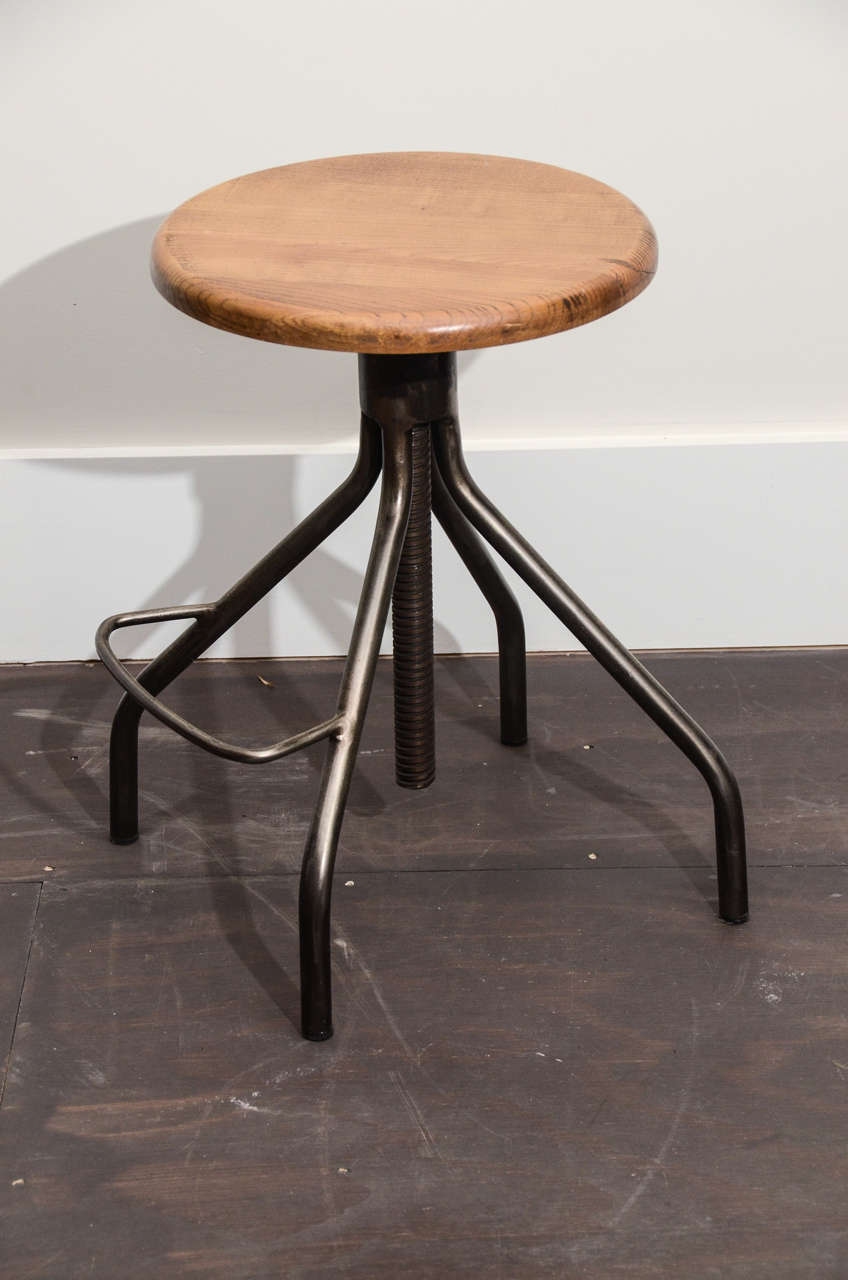 Industrial stool with adjustable wooden screw top at stdibs