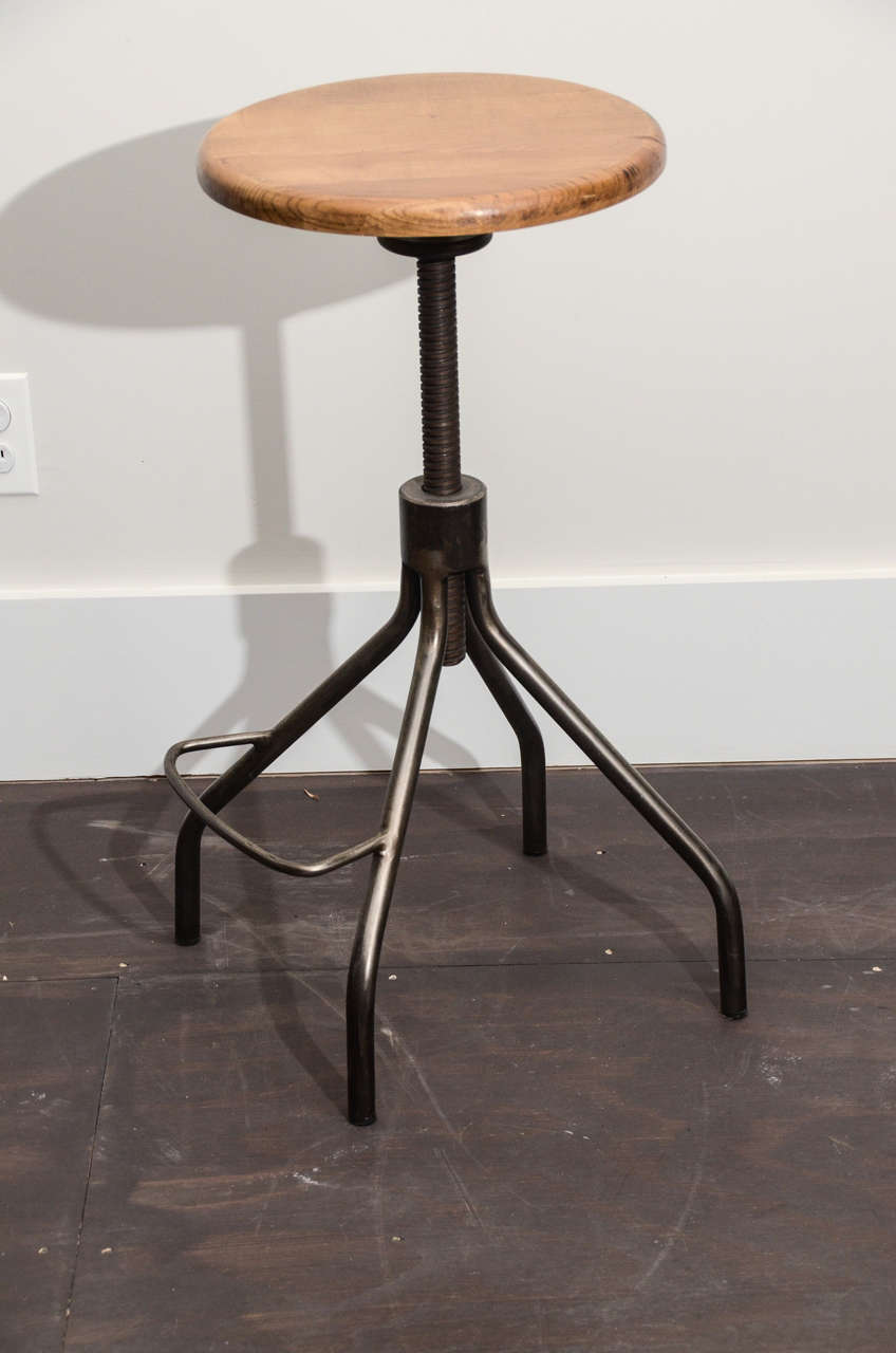 Industrial Stool With Adjustable Wooden Screw Top At 1stdibs