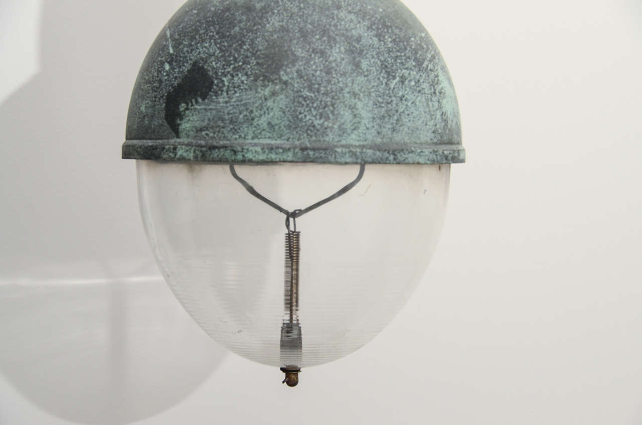 French Industrial Copper Pendant Light with Verdigris Patina