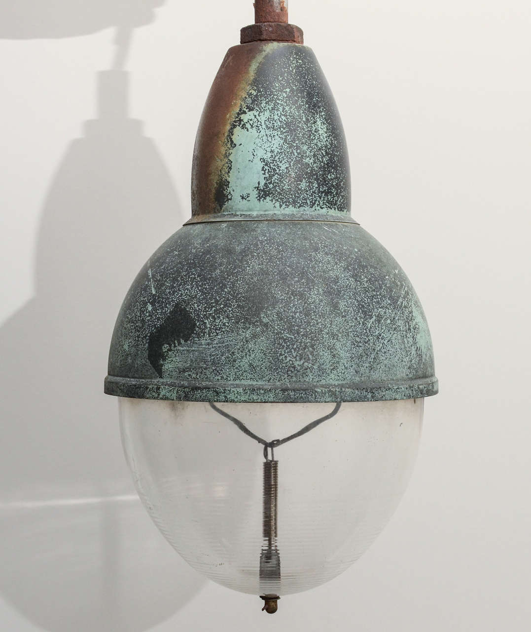 Industrial Copper Pendant Light with Verdigris Patina In Good Condition In New York City, NY