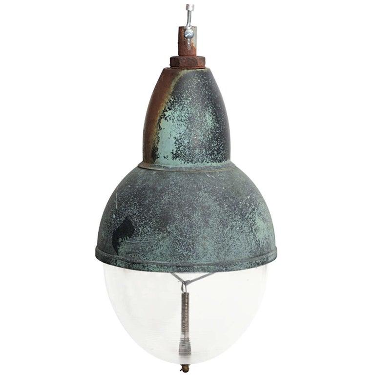 Industrial Copper Pendant Light with Verdigris Patina