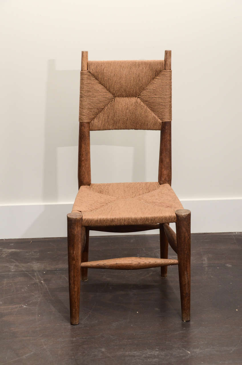 Set Of 6 Charlotte Perriand Rush Dining Chairs At 1stdibs