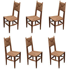 Set of 6 Charlotte Perriand Rush Dining Chairs