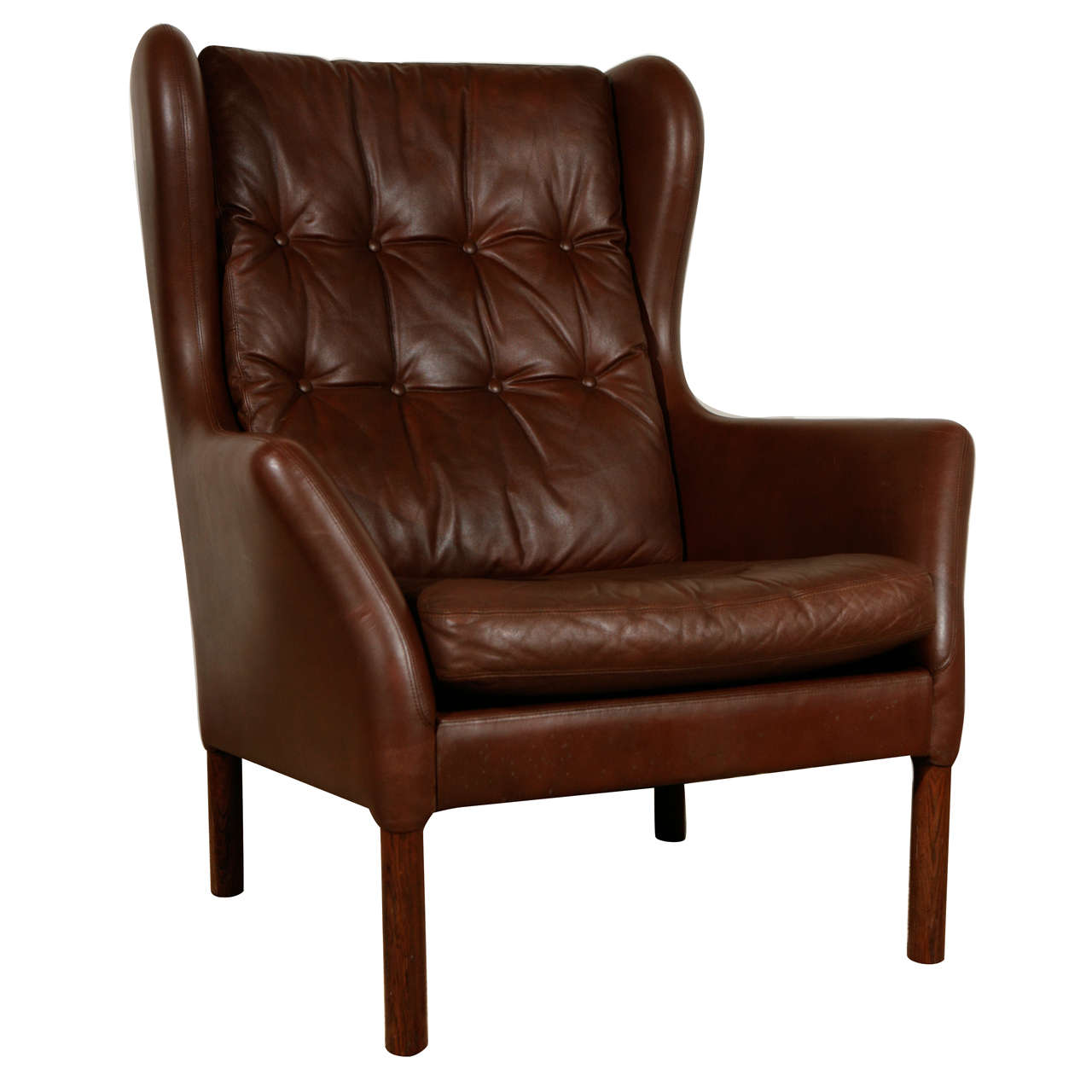 Vintage Leather Wingback Chair at 1stdibs