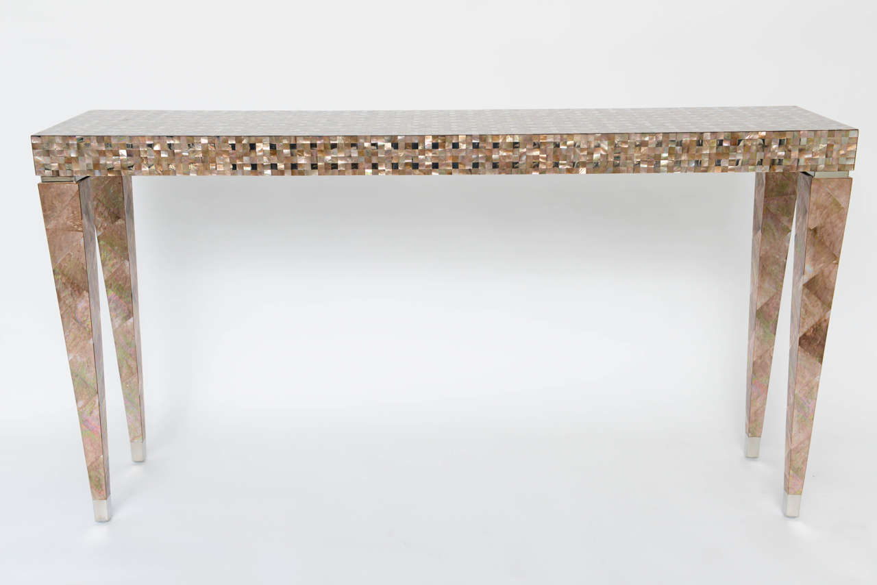 Merveilleux Philippine Stunning Tessellated Mother Of Pearl And Nickel Console Table  For Sale