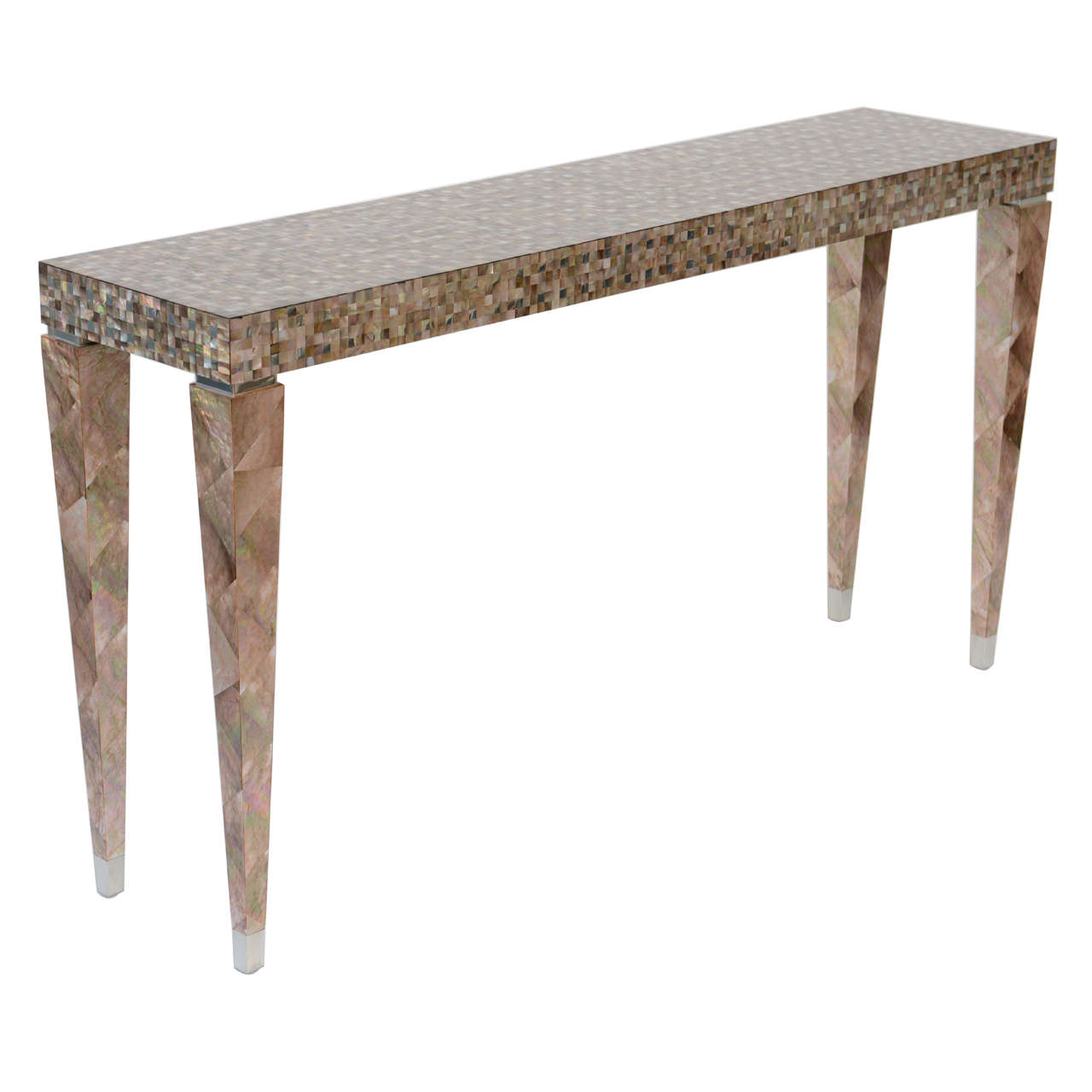 Stunning tessellated mother of pearl and nickel console for 5 foot console table