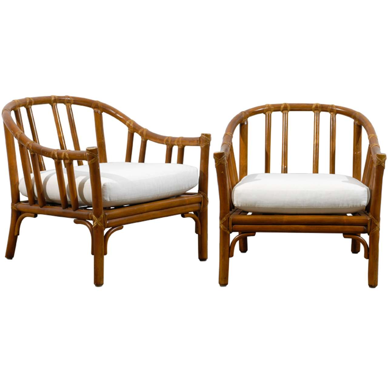 Handsome Pair Of Bamboo Lounge Club Chairs By Mcguire For