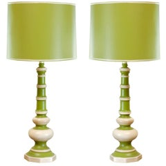 Pair of Vintage Ceramic Lamps in Lime and Cream