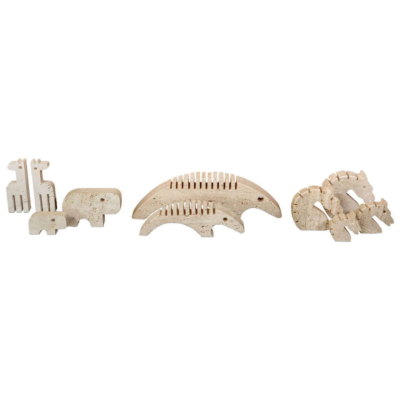 Raymor Travertine Animal Figures At 1stdibs