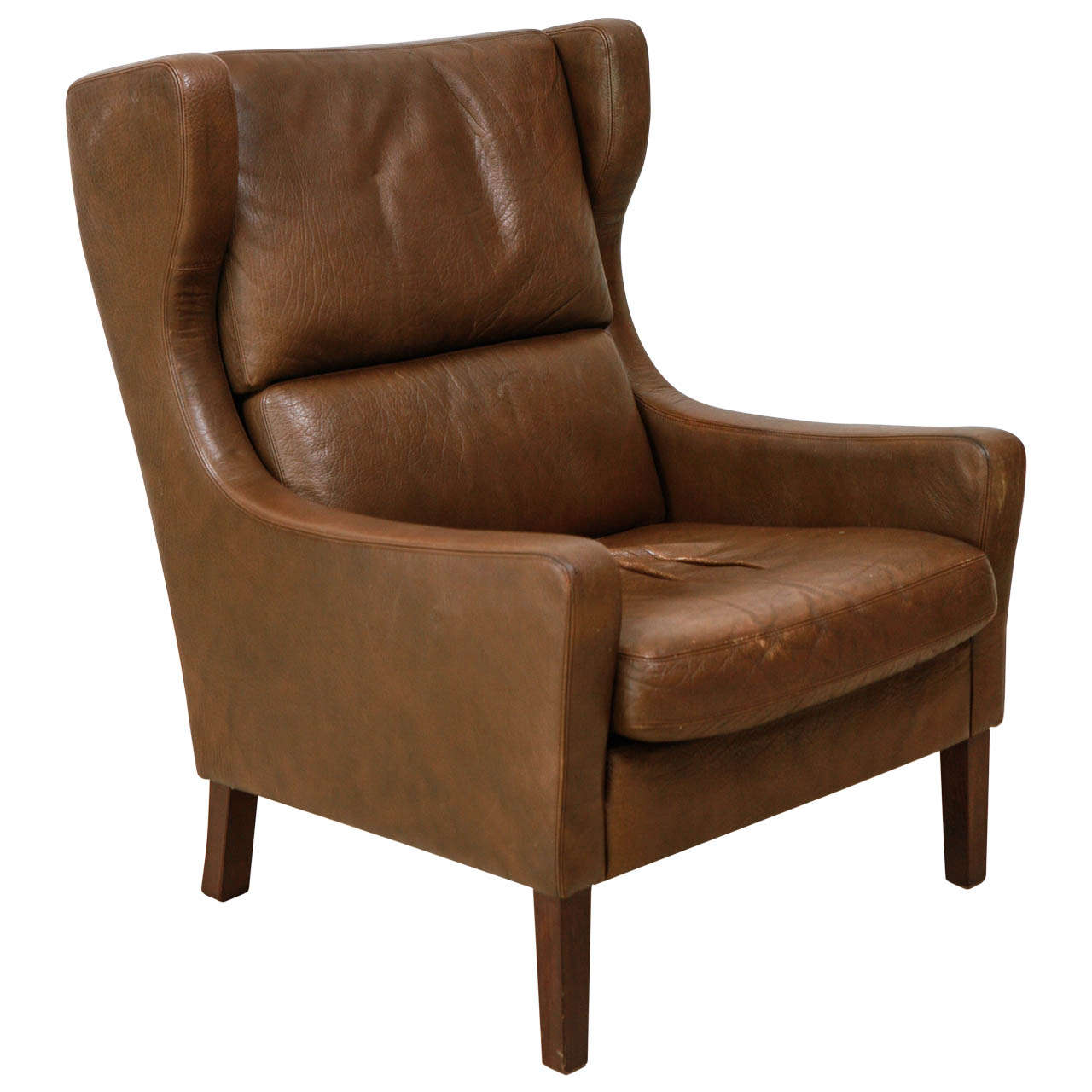 Genial High Back Danish Leather Lounge Chair In The Style Of Borge Mogensen For  Sale