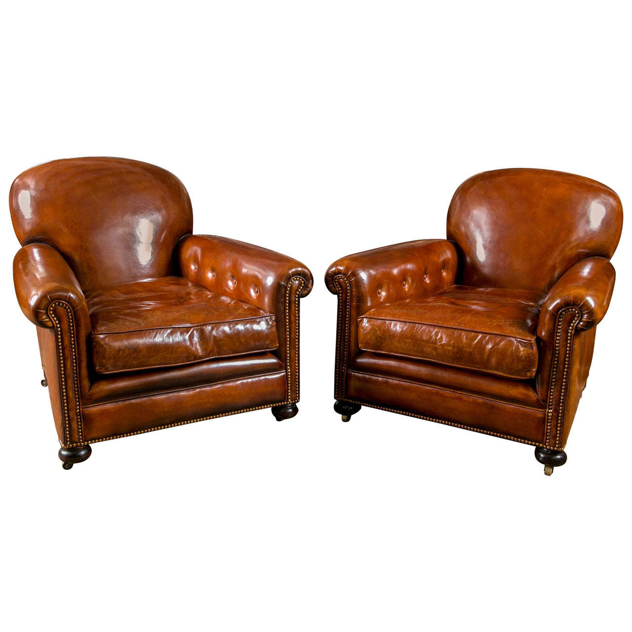 French Leather Club Chairs For Sale At 1stdibs