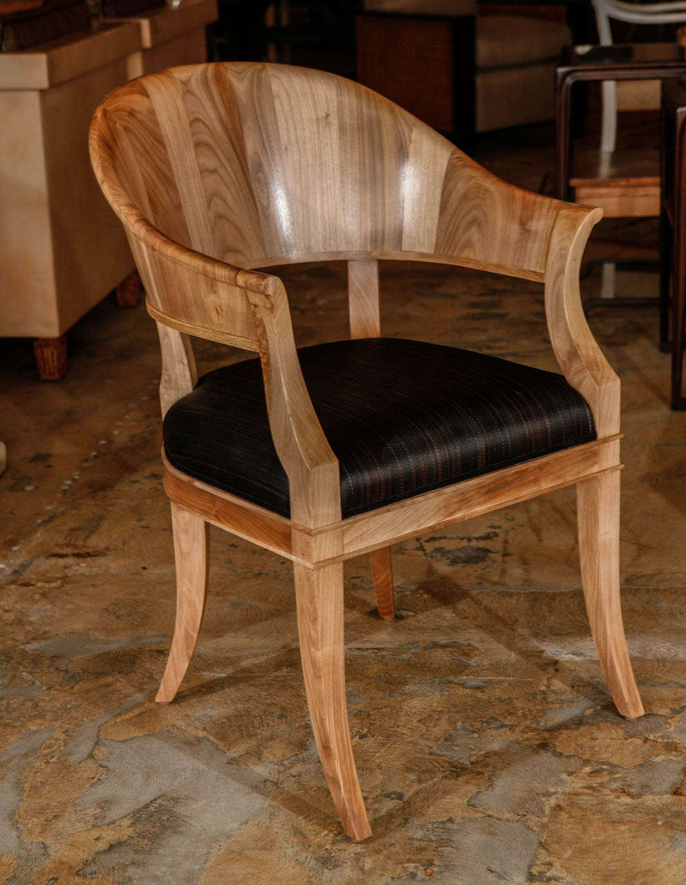 Modern, French Art Deco inspired bleached walnut chairs upholstered in brown horsehair shown as pair. By order. As shown have sold. Price quoted is per each chair. Double bleached walnut, seat upholstered in horsehair. Seat depth to inside back is