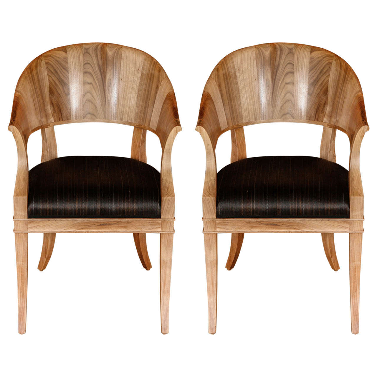 Bleached Walnut French Art Deco Style Chairs For