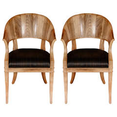 Bleached Walnut French Art Deco Style Chairs