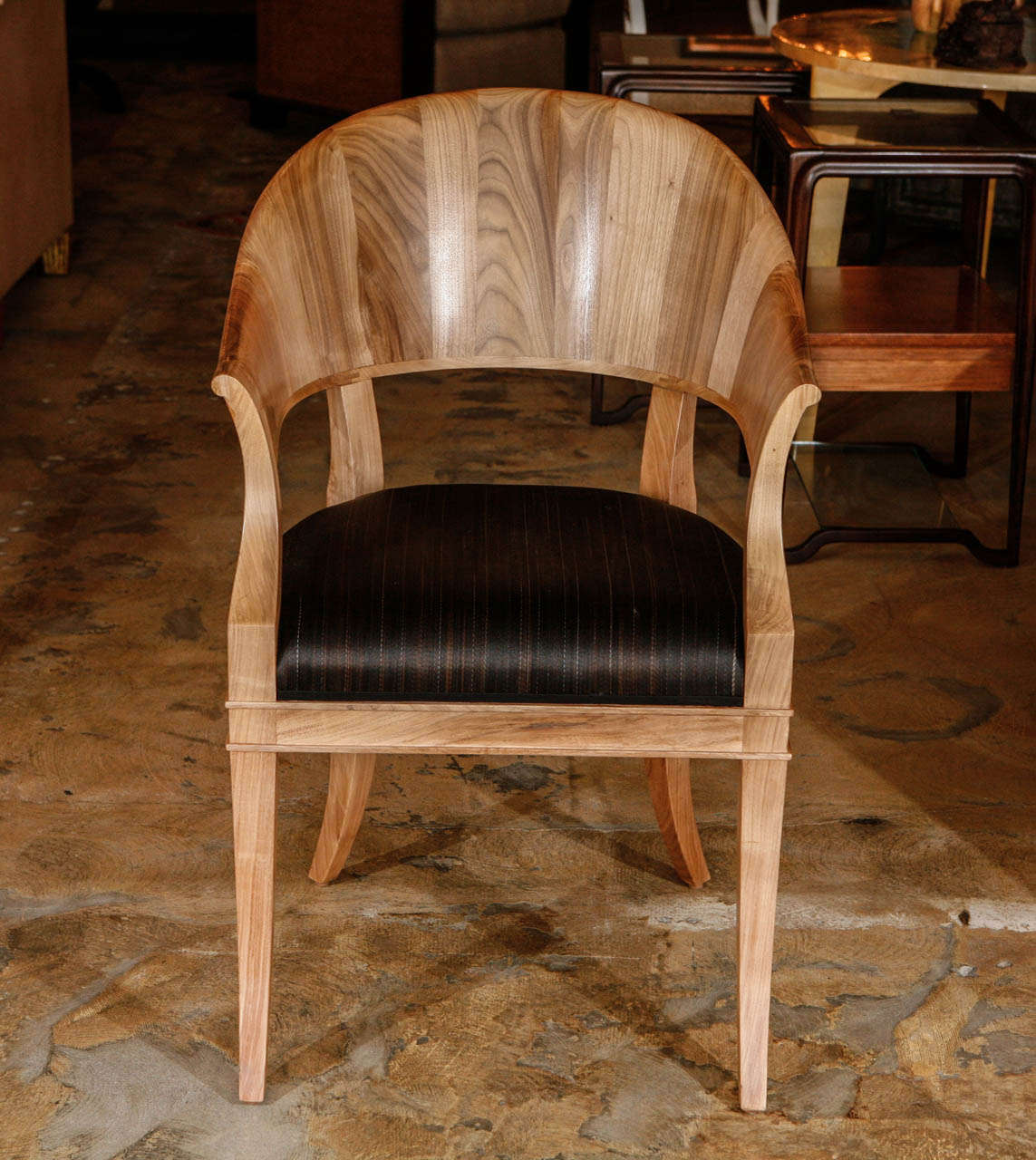 American Bleached Walnut French Art Deco Style Chairs For Sale