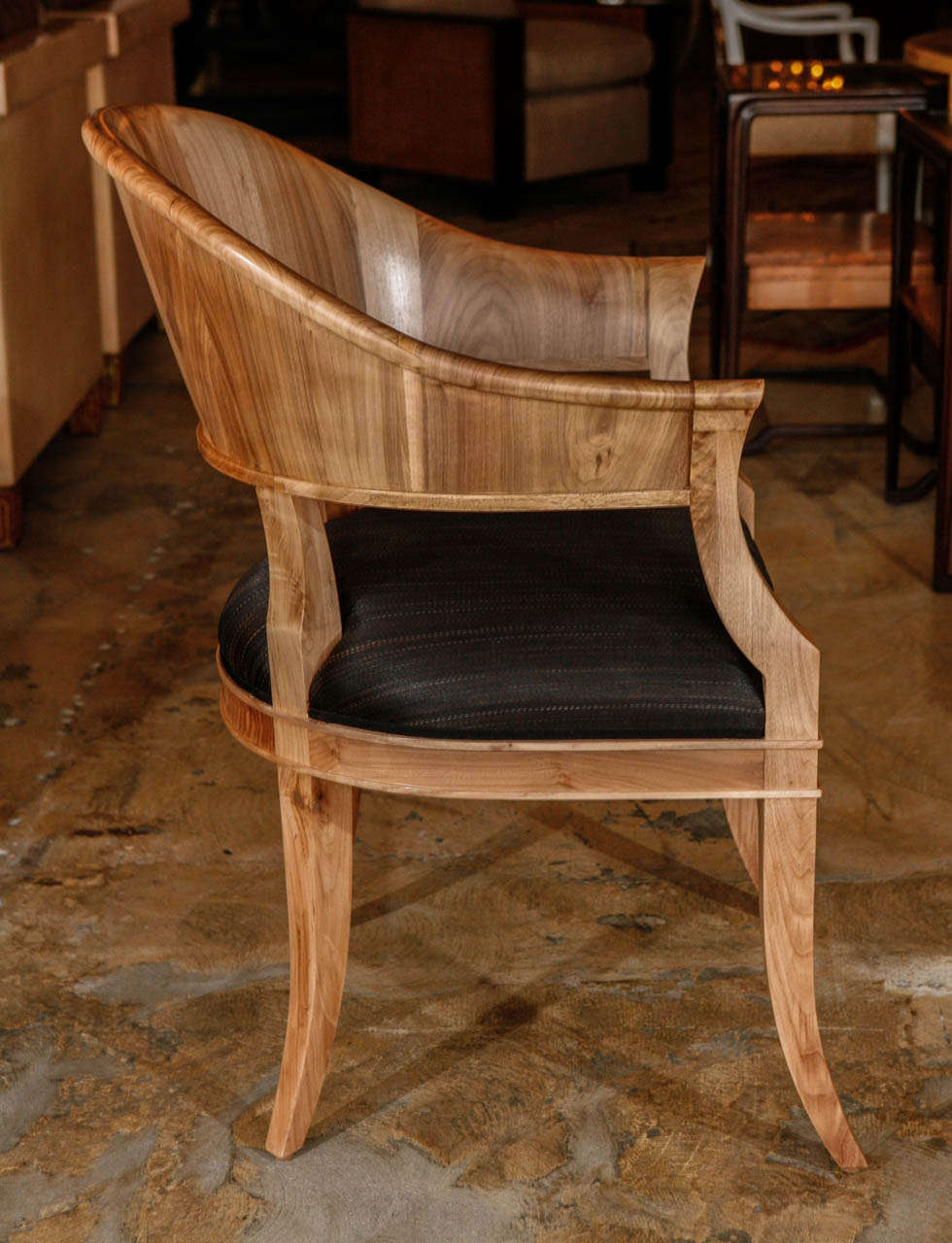 Bleached Walnut French Art Deco Style Chairs In Excellent Condition For Sale In Los Angeles, CA