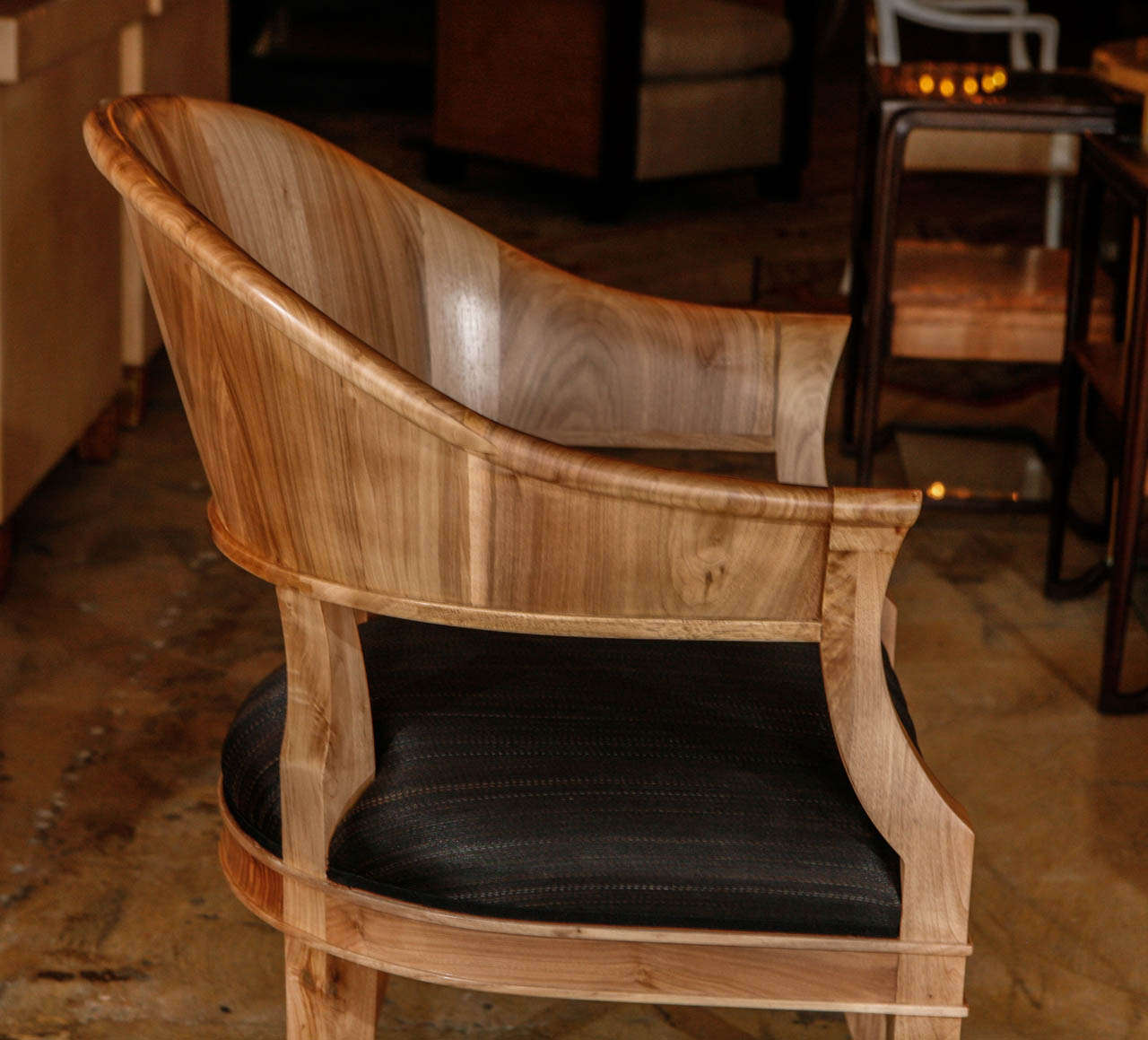 Contemporary Bleached Walnut French Art Deco Style Chairs For Sale