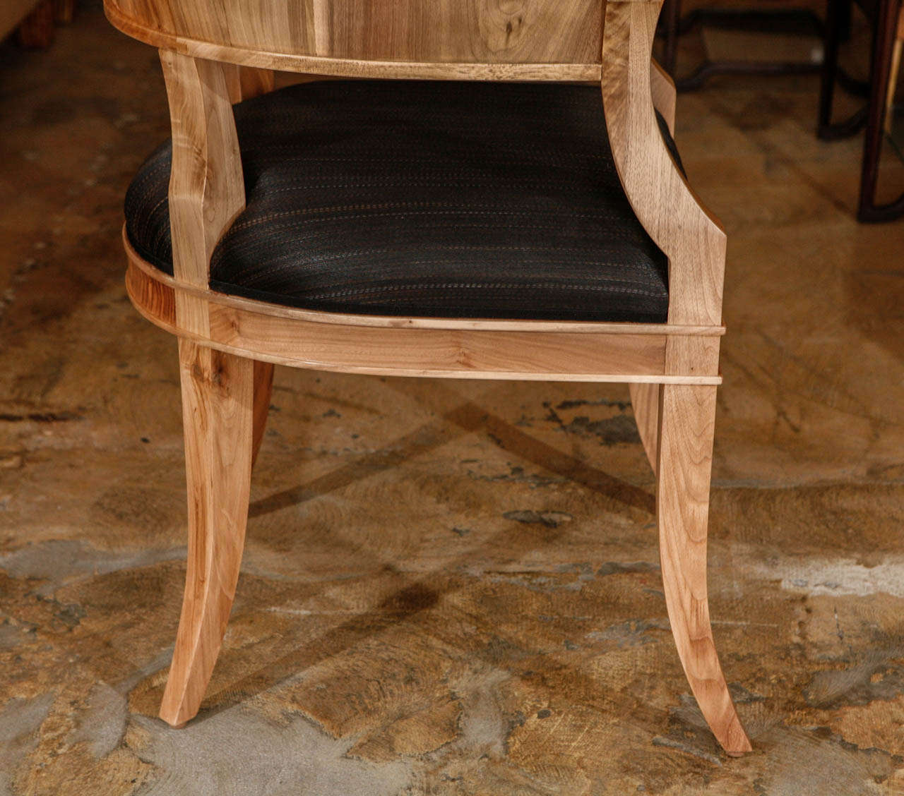 Upholstery Bleached Walnut French Art Deco Style Chairs For Sale