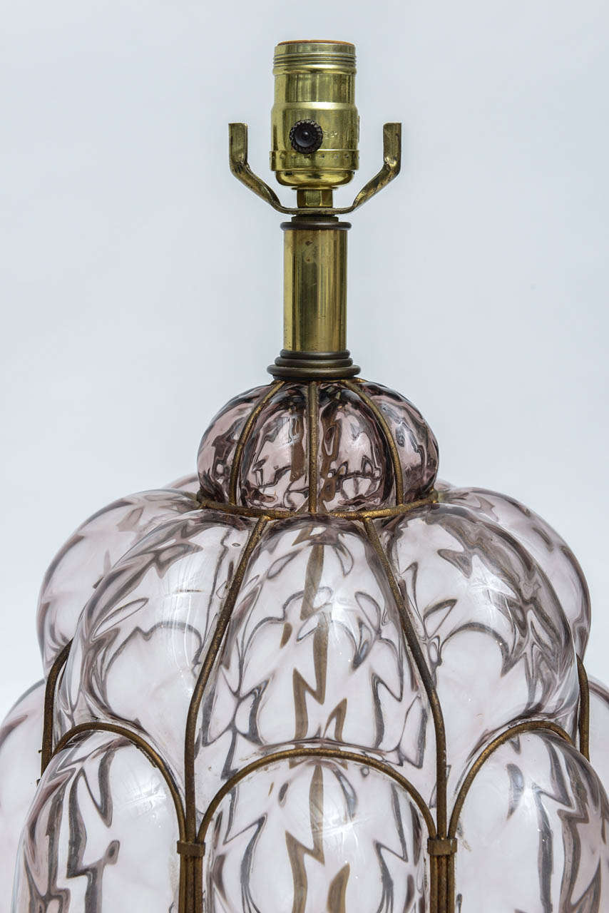 Pair Of Italian Wrought Iron And Handblown Glass Table