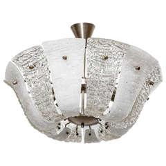 Large Kalmar Ice Textured Glass Chandelier