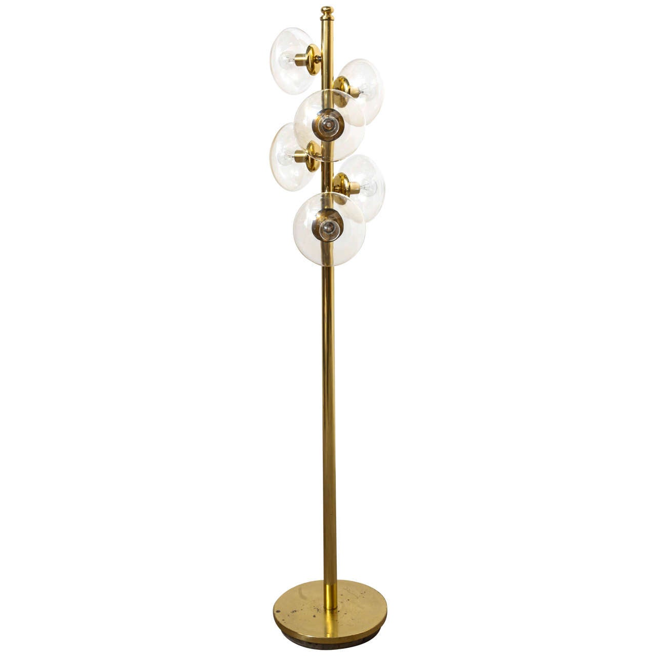 Beautiful functional rare kaiser brass floor lamp 1970s for Beautiful floor lamps