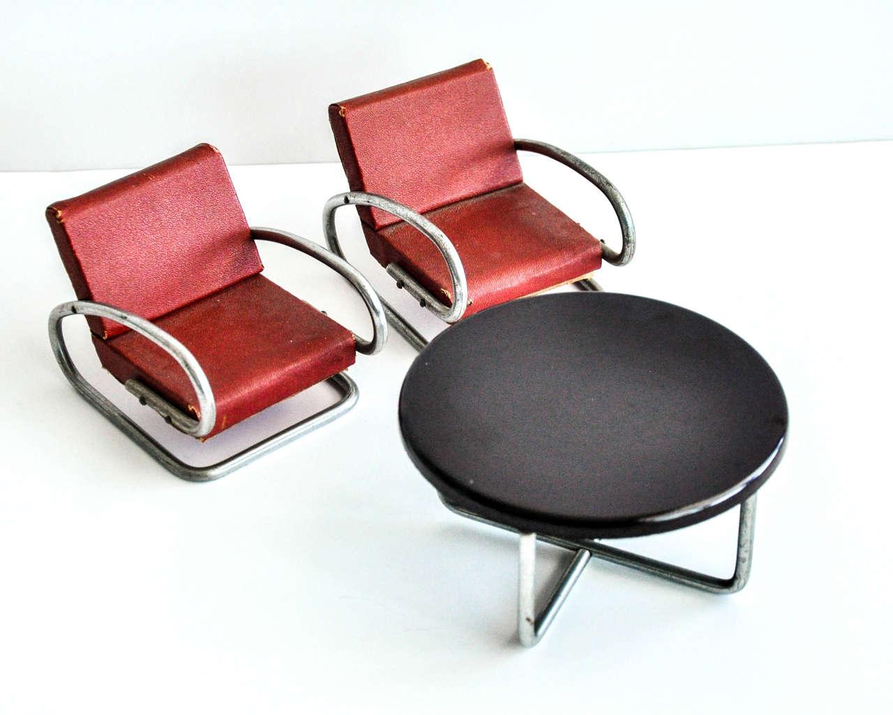 Czech Art Deco/Bauhaus Salesman's Sample Furniture Group/Jindrich Halabala For Sale