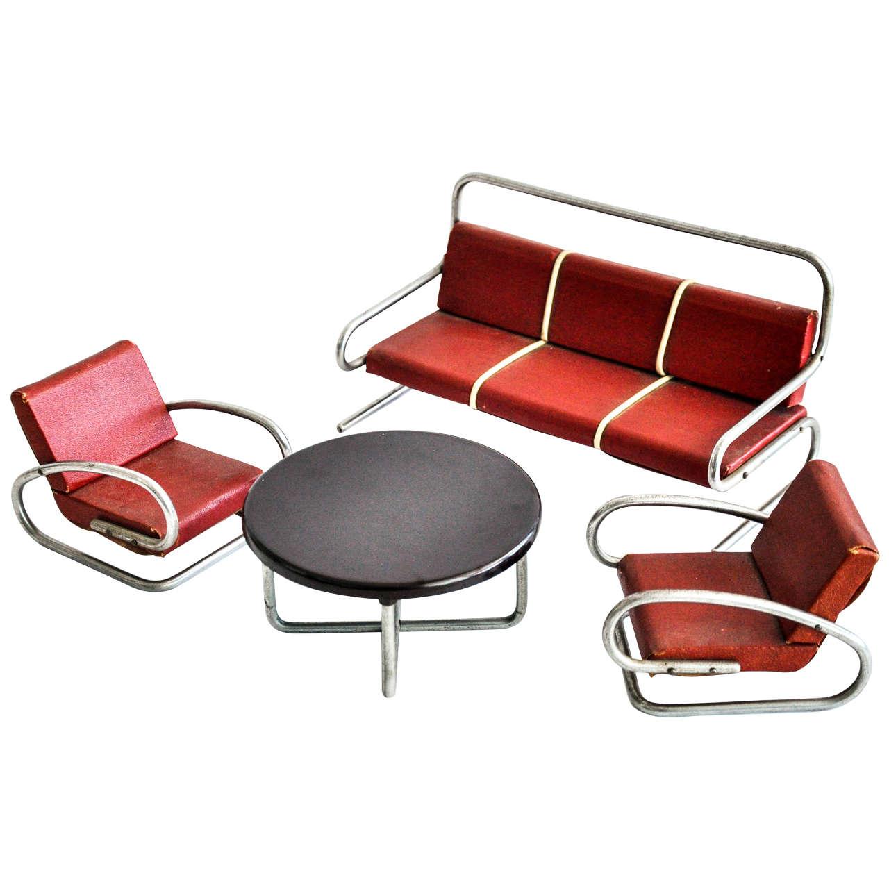 Art Deco/Bauhaus Salesman's Sample Furniture Group/Jindrich Halabala For Sale