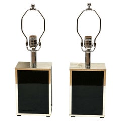 Pair of Petite Chrome and Black Glass Rectangular Box Table Lamps