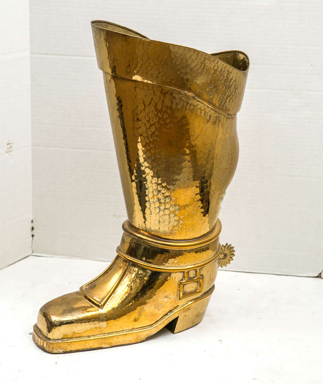 French Hammered Brass Riding Boot Umbrella Stand For Sale