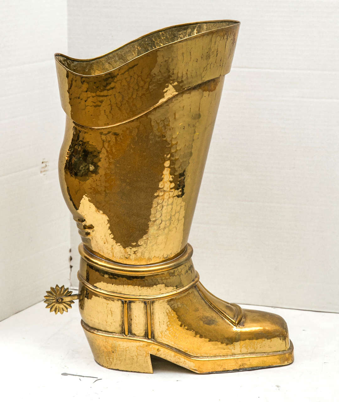 20th Century Hammered Brass Riding Boot Umbrella Stand For Sale
