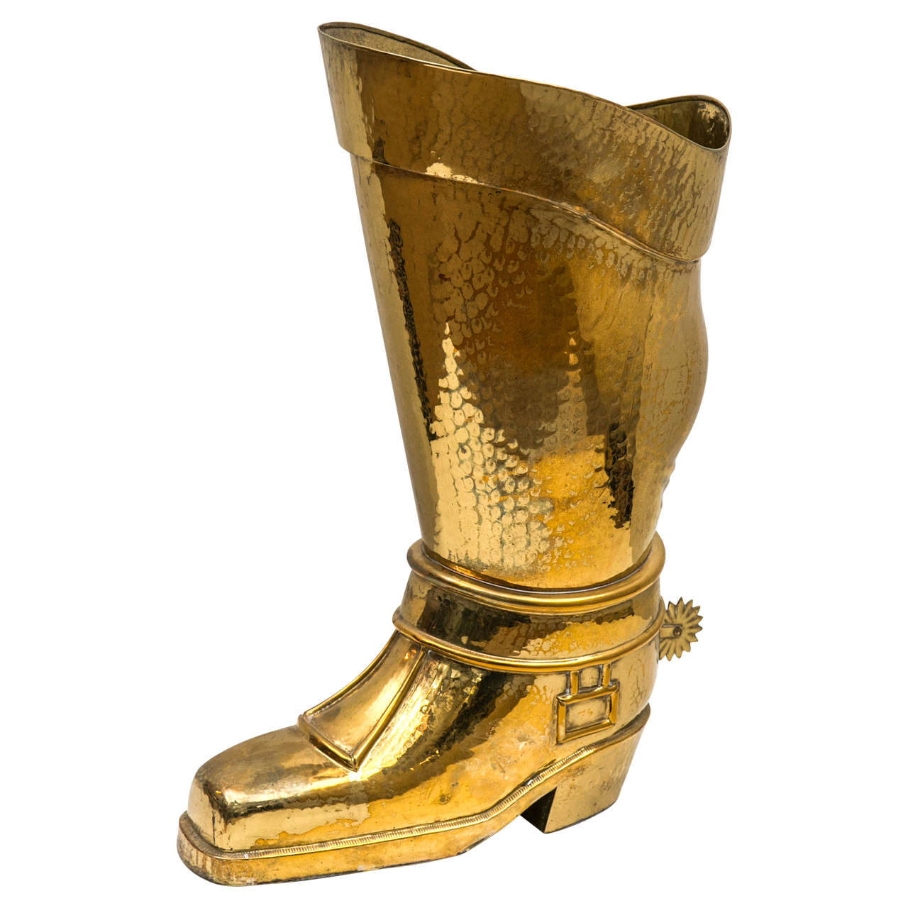 Hammered Brass Riding Boot Umbrella Stand For Sale