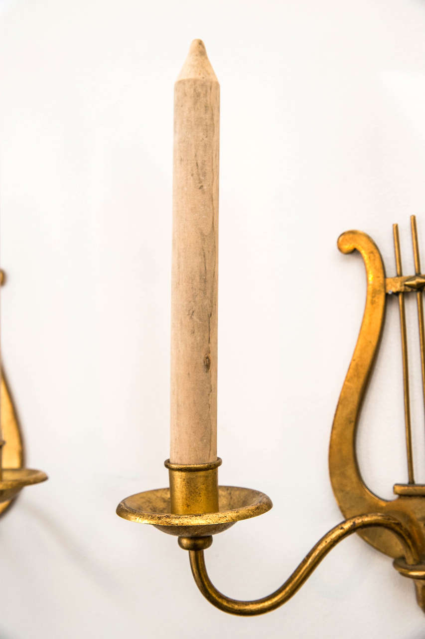 Set of Four Gilt Metal Candle Sconces with Wooden Faux Candles For Sale at 1stdibs