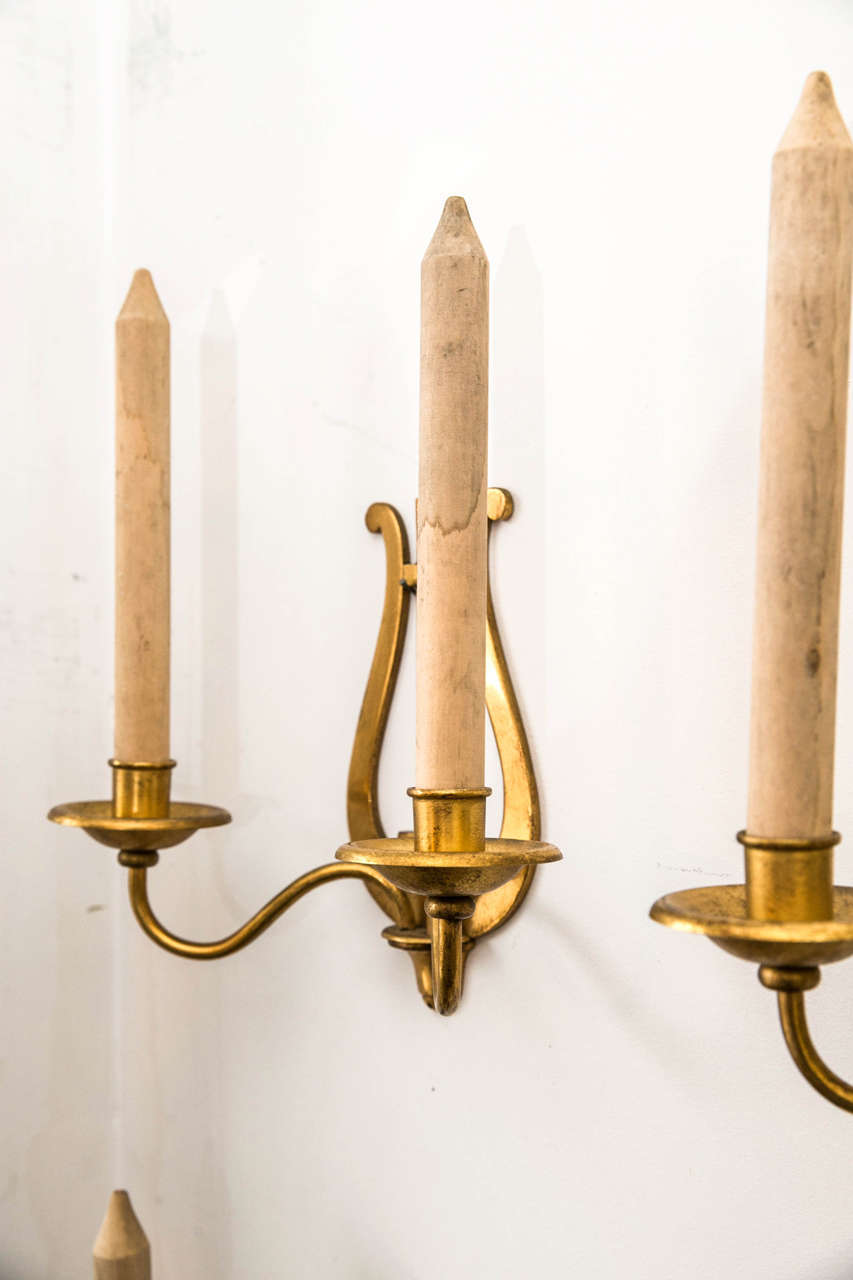 Fake Candle Wall Lights : Set of Four Gilt Metal Candle Sconces with Wooden Faux Candles For Sale at 1stdibs