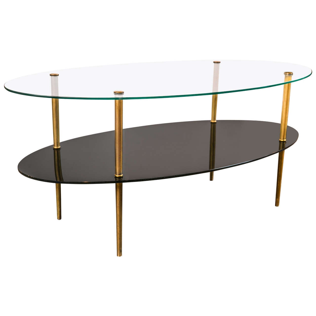 Oval glass two tier coffee table for sale at 1stdibs Glass oval coffee tables