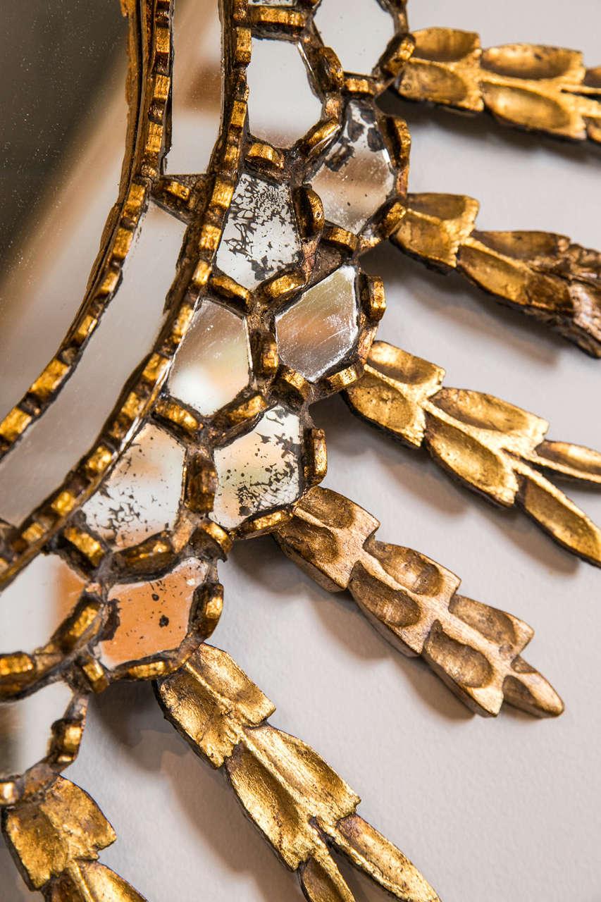 Mid-20th Century Giltwood Sunburst Mirror For Sale