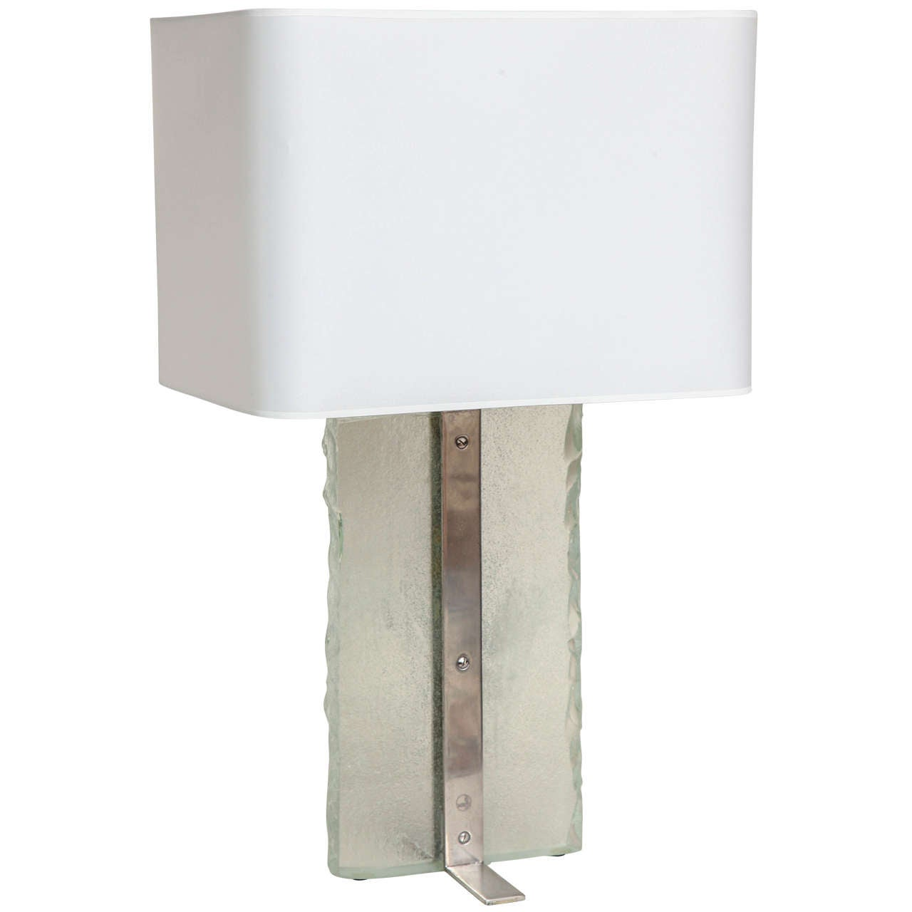Boris Jean Lacroix French Art Deco Nickeled Brass and Glass Slab Table Lamp