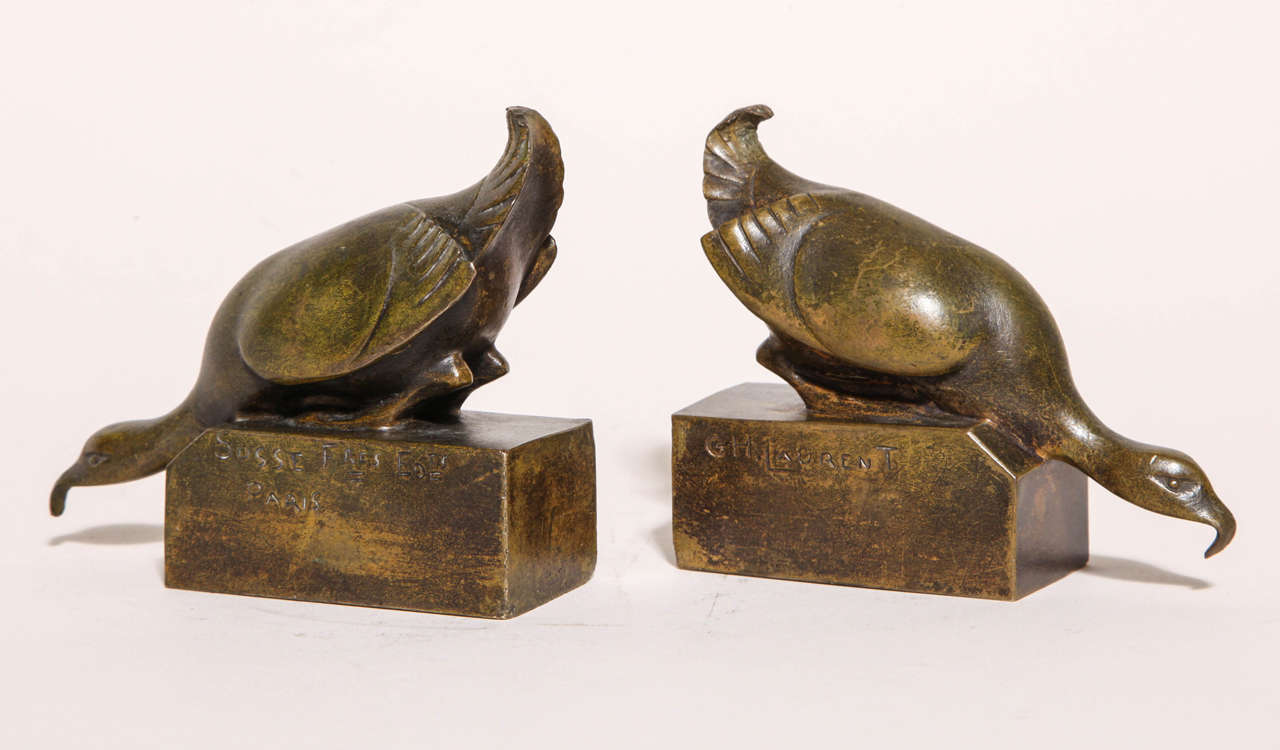With eagles on bronze base  G. H. Laurent was well-known for his bronze animalier sculptures. Inscribed G.H. Laurent/ Impressed Susse Fres Edts/ Paris.