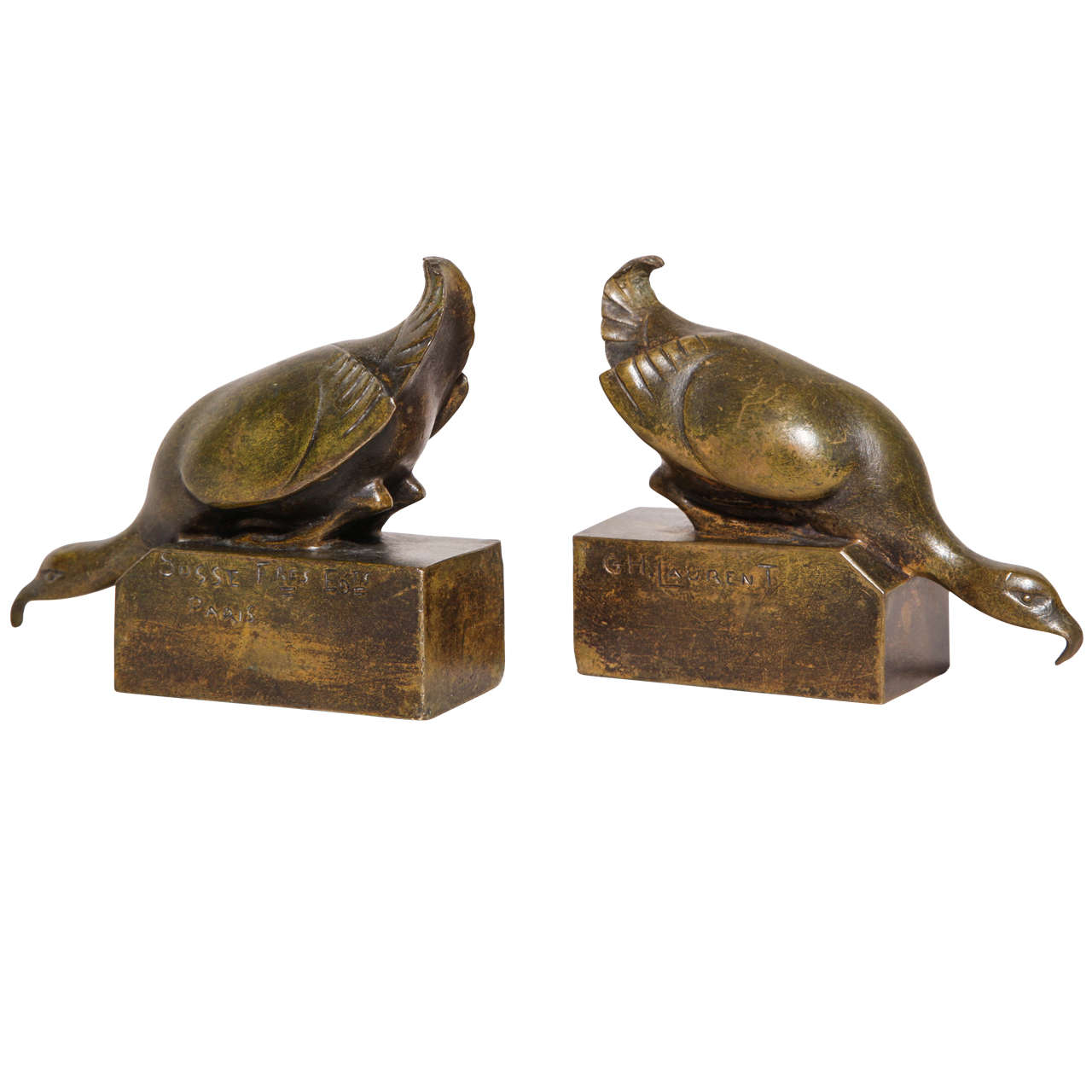 G.H. Laurent French Art Deco Bronze Bird Bookends For Sale