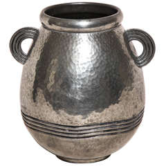 Rene Delavan French Art Deco Pewter Vase