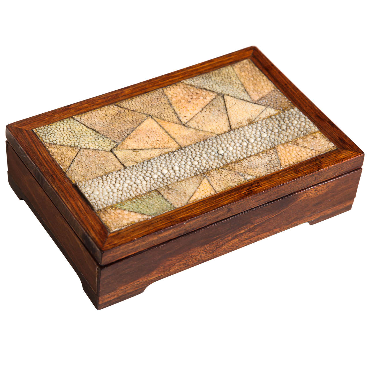 French Art Deco Wood and Shagreen Box