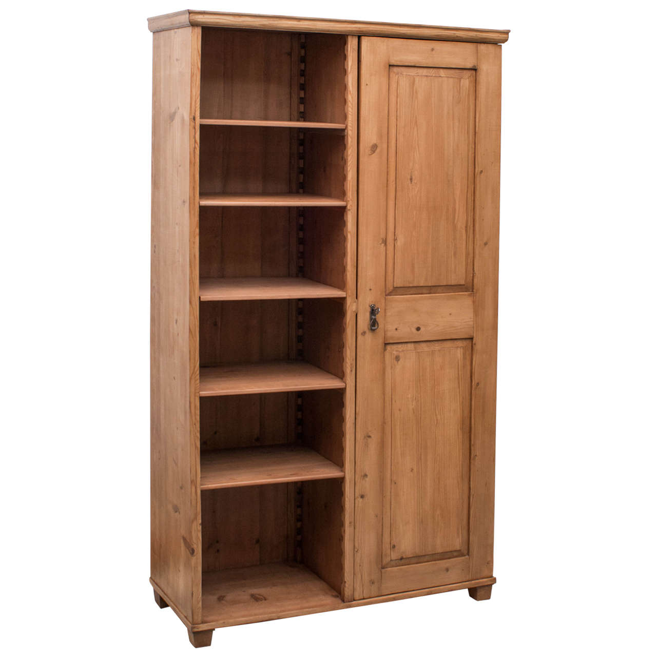 Pine Wardrobe With Shelves At 1stdibs