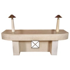 Massive Polished Travertine Console Table by Steve Chase