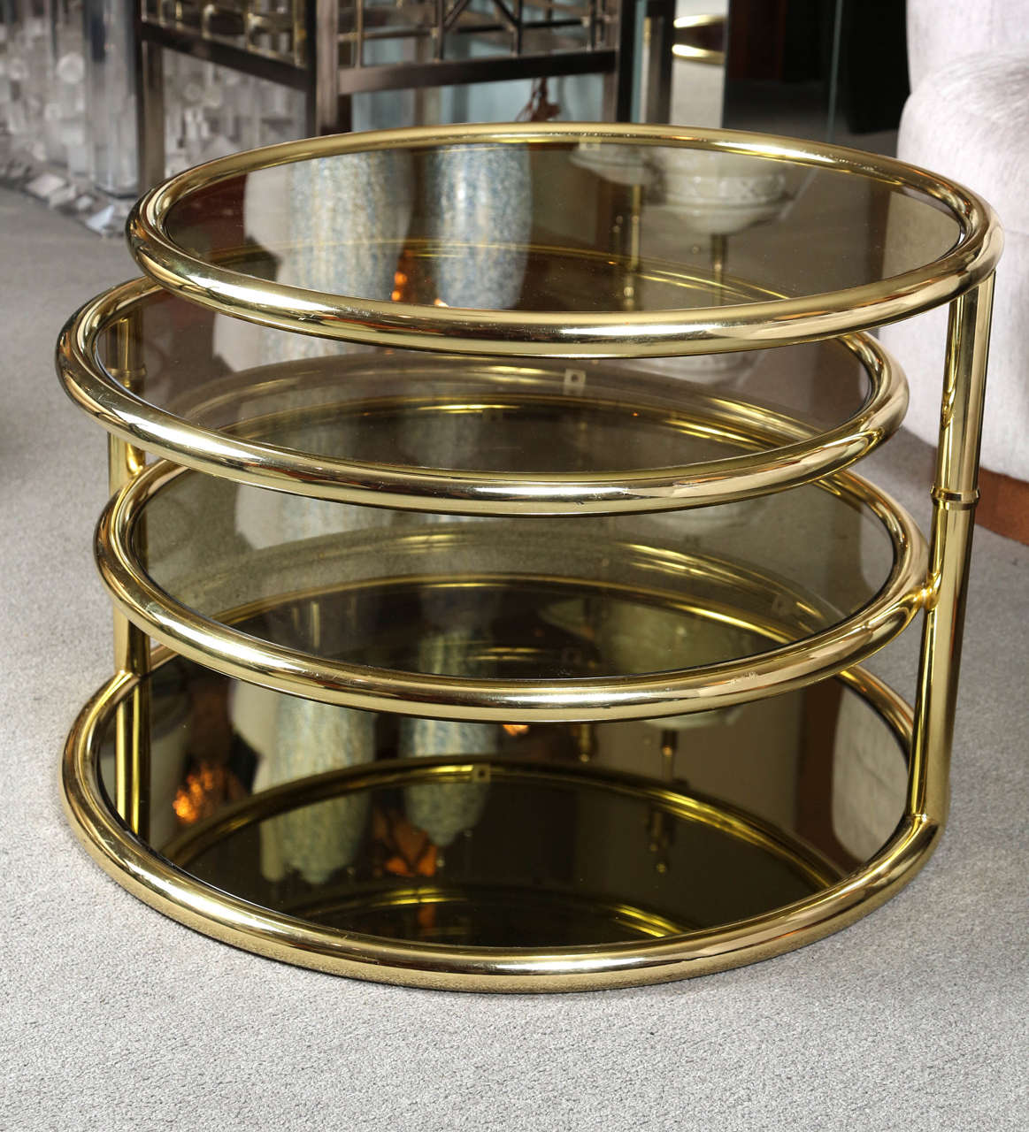 Polished Brass And Smoked Glass Cocktail Table At 1stdibs