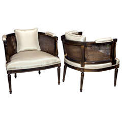 Pair of Ebonized Wood Frame Armchairs w/ Caning