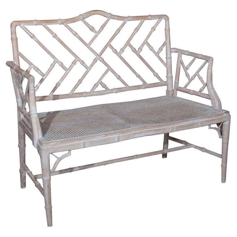 1920s Chinese Chippendale Style Faux Bamboo Bench At 1stdibs