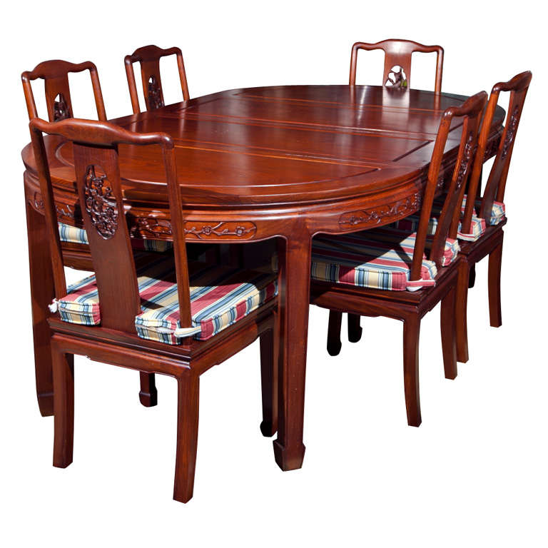 Asian dining room furniture 60in rosewood of pearl motif for Oriental dining table