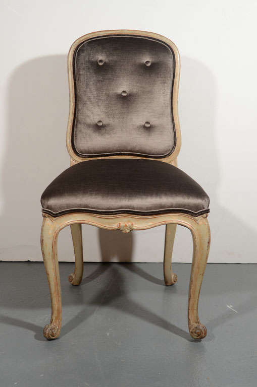 French Provincial Vanity Chair Or Desk Chair In Sable Velvet At 1stdibs