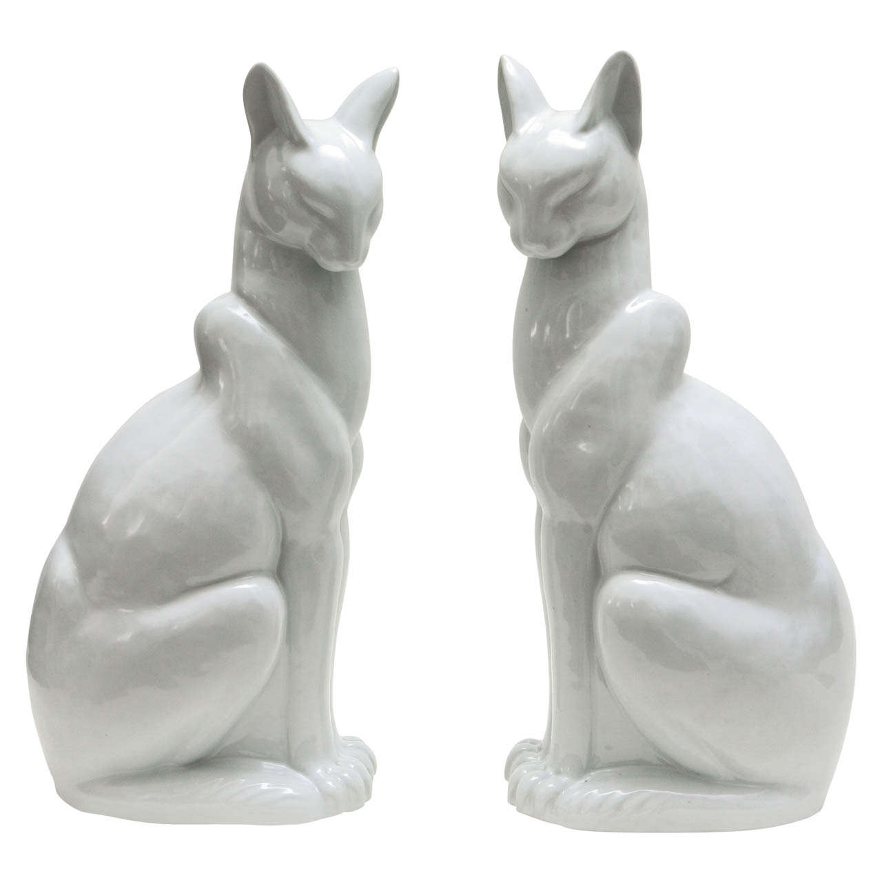 Pair of Japanese Glazed Ceramic Cats